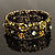 Victorian Olive Green Crystal Floral Flex Cuff Bangle (Bronze Tone) - view 8