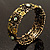 Victorian Olive Green Crystal Floral Flex Cuff Bangle (Bronze Tone) - view 5