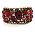 Bronze Tone Red Crystal Floral Cuff Bangle - view 8
