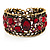 Bronze Tone Red Crystal Floral Cuff Bangle - view 1