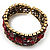 Bronze Tone Red Crystal Floral Cuff Bangle - view 6