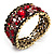 Bronze Tone Red Crystal Floral Cuff Bangle - view 7