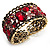 Bronze Tone Red Crystal Floral Cuff Bangle - view 3