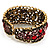 Bronze Tone Red Crystal Floral Cuff Bangle - view 4