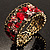 Bronze Tone Red Crystal Floral Cuff Bangle - view 2