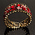 Bronze Tone Red Crystal Floral Cuff Bangle - view 5