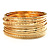 Gold Plated Thin Smooth & Textured Bangle Set - 12 Pcs - view 5