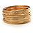 Gold Plated Thin Smooth & Textured Bangle Set - 12 Pcs - view 7
