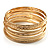 Gold Plated Thin Smooth & Textured Bangle Set - 12 Pcs - view 4