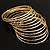 Gold Plated Thin Smooth & Textured Bangle Set - 12 Pcs