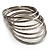 Rhodium Plated Thin Smooth & Textured Bangle Set -  7 Pcs