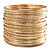 Gold & Silver Tone Slim Textured Metal Bangles - Set of 50Pcs - view 9