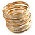 Gold & Silver Tone Slim Textured Metal Bangles - Set of 50Pcs - view 2