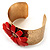 Wide Floral Hammered Gold Tone Cuff Bangle (Coral) - view 5