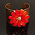 Wide Floral Hammered Gold Tone Cuff Bangle (Coral) - view 8