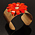 Wide Floral Hammered Gold Tone Cuff Bangle (Coral) - view 9