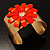 Wide Floral Hammered Gold Tone Cuff Bangle (Coral) - view 3