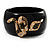 Wide Black Resin &#039;Snake&#039; Hinged Bangle Bracelet