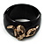 Wide Black Resin &#039;Snake&#039; Hinged Bangle Bracelet - view 6