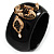 Wide Black Resin &#039;Snake&#039; Hinged Bangle Bracelet - view 4