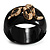 Wide Black Resin &#039;Snake&#039; Hinged Bangle Bracelet - view 3