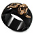 Wide Black Resin &#039;Snake&#039; Hinged Bangle Bracelet - view 2