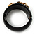 Wide Black Resin &#039;Snake&#039; Hinged Bangle Bracelet - view 10