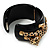 Black Resin Crystal 'Tiger' Hinged Bangle (Gold Tone) - Catwalk 2012 - view 9