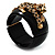 Black Resin Crystal 'Tiger' Hinged Bangle (Gold Tone) - Catwalk 2012 - view 12