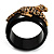 Black Resin Crystal 'Tiger' Hinged Bangle (Gold Tone) - Catwalk 2012 - view 3