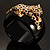 Black Resin Crystal 'Tiger' Hinged Bangle (Gold Tone) - Catwalk 2012 - view 17