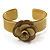 Antique Yellow Acrylic Rose Cuff Bangle