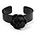 Black Acrylic Rose Cuff Bangle