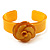 Yellow Acrylic Rose Cuff Bangle