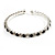 Black & Clear Crystal Thin Flex Bangle Bracelet (Silver Tone)