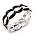 'Oval Link Chain' Black Enamel Hinged Bangle Bracelet (Silver Tone)