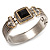 Two Tone Mesh Hinged Bangle Bracelet - view 2