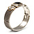 Two Tone Mesh Hinged Bangle Bracelet - view 12