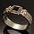 Two Tone Mesh Hinged Bangle Bracelet - view 4