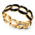 'Oval Link Chain' Jet Black Enamel Hinged Bangle Bracelet (Gold Tone)