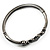 Gun Metal Diamante Heart Hinged Bangle Bracelet - view 10