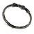 Gun Metal Diamante Heart Hinged Bangle Bracelet - view 8