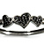Gun Metal Diamante Heart Hinged Bangle Bracelet - view 4
