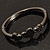 Gun Metal Diamante Heart Hinged Bangle Bracelet - view 11