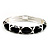 Black Enamel &#039;Criss Cross&#039; Hinged Bangle Bracelet (Silver Tone Metal) - view 6