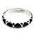 Black Enamel &#039;Criss Cross&#039; Hinged Bangle Bracelet (Silver Tone Metal)