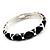 Black Enamel &#039;Criss Cross&#039; Hinged Bangle Bracelet (Silver Tone Metal) - view 4