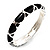 Black Enamel &#039;Criss Cross&#039; Hinged Bangle Bracelet (Silver Tone Metal) - view 2