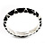 Black Enamel &#039;Criss Cross&#039; Hinged Bangle Bracelet (Silver Tone Metal) - view 10