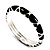 Black Enamel &#039;Criss Cross&#039; Hinged Bangle Bracelet (Silver Tone Metal) - view 12